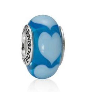 Pandora Blue Hearts Glass Charm